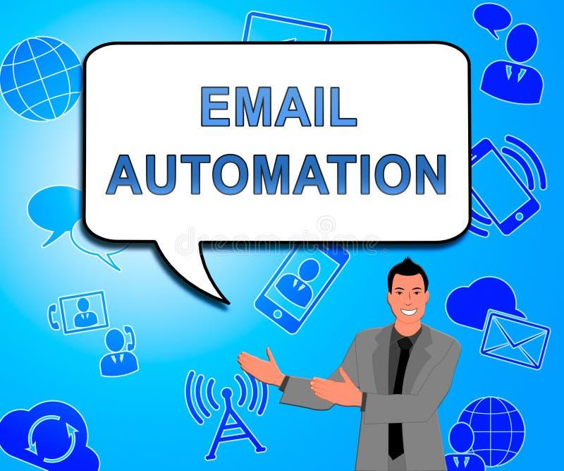 E-mailautomatisering Digitale Marketing Systeem 2d Illustratie stock illustratie