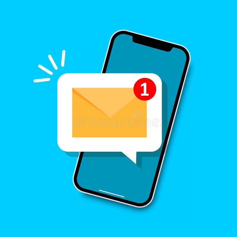 E-mailberichtconcept Nieuwe e-mail op het smartphonescherm vector illustratie