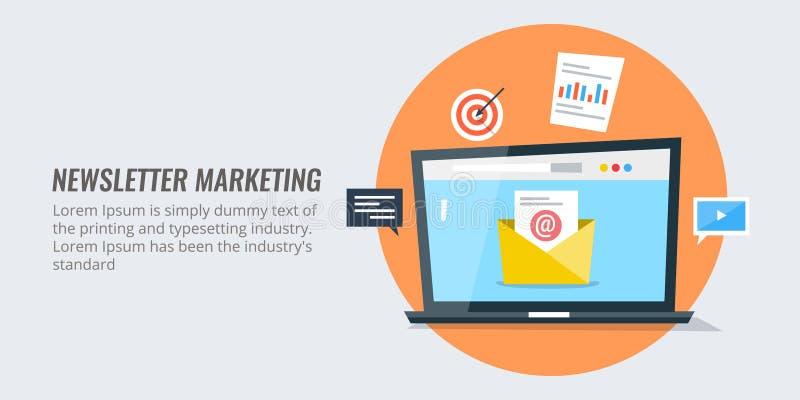 E-mailbevordering, campagne, e-mail marketing concept Vlak ontwerp die vectorbanner op de markt brengen
