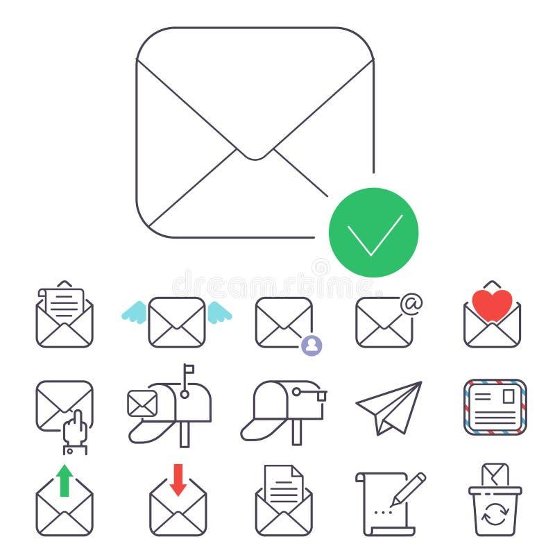E-mailbrieven vectorpictogrammen geplaatst communicatie van de envelopdekking correspondentie het lege document van het de brieve stock illustratie