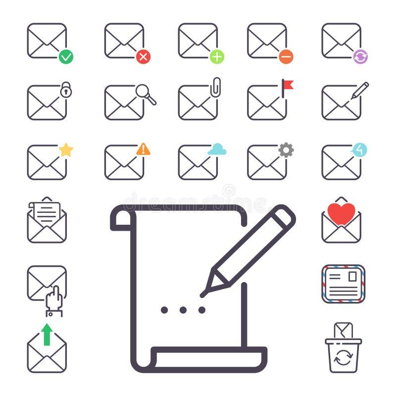 E-mailbrieven vectorpictogrammen geplaatst communicatie van de envelopdekking correspondentie het lege document van het de brieve royalty-vrije illustratie