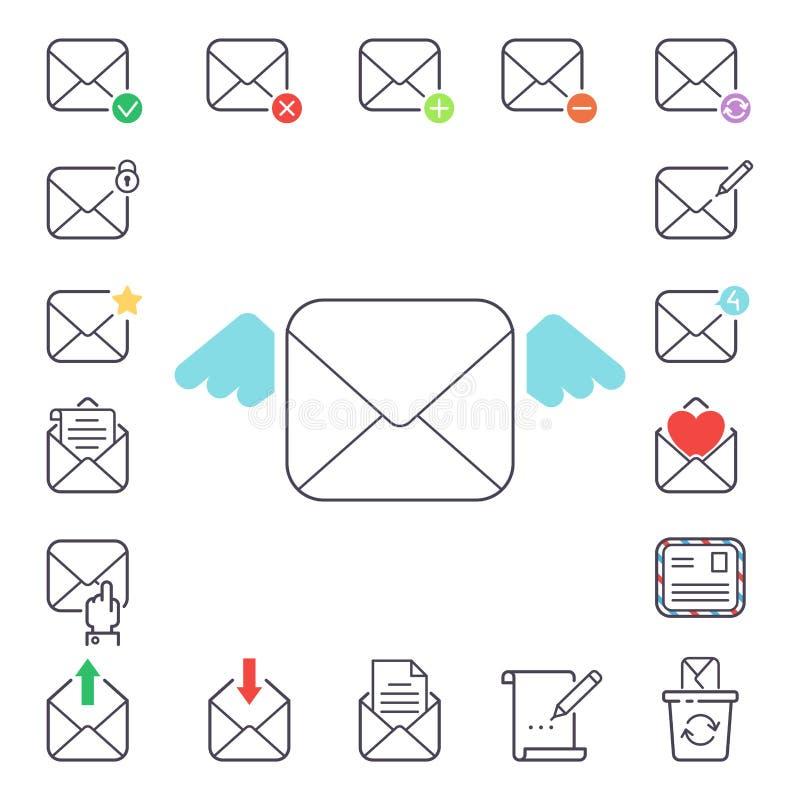E-mailbrieven vectorpictogrammen geplaatst communicatie van de envelopdekking correspondentie het lege document van het de brieve vector illustratie