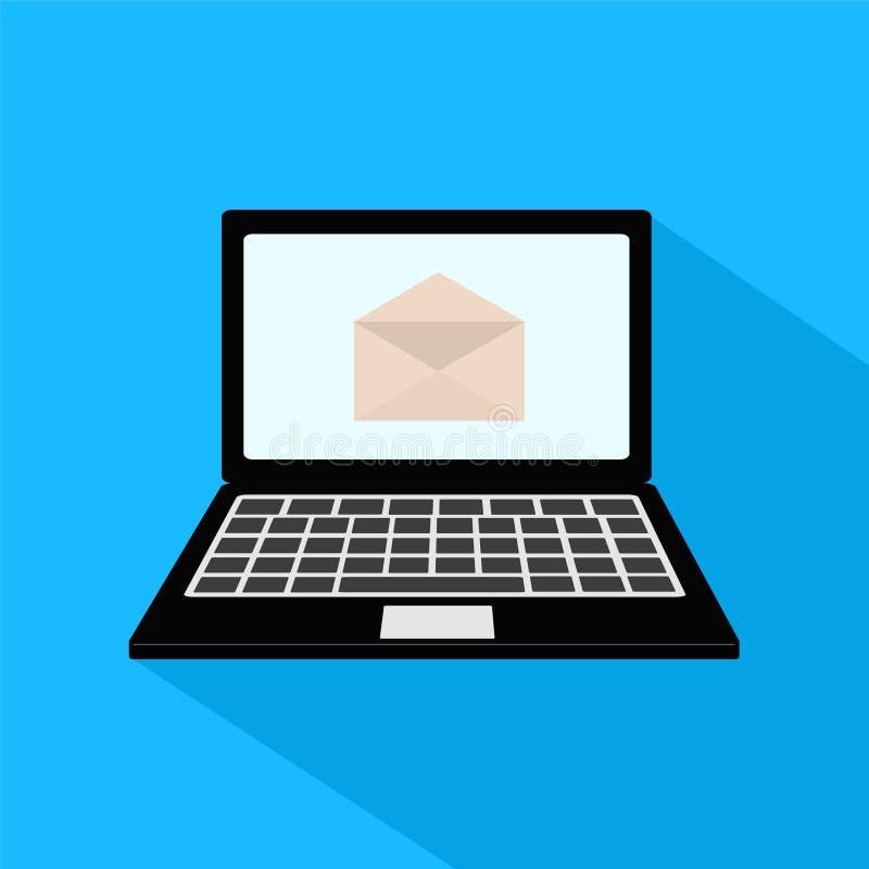 E-maildieconcept door envelop en laptop pictogram wordt vertegenwoordigd Colorfull stock illustratie