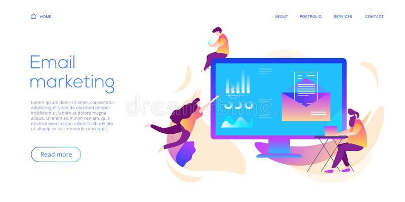 E-maildienst creatieve vlakke vectorillustratie Het concept van het elektronische postbericht als deel van bedrijfs marketing Web vector illustratie