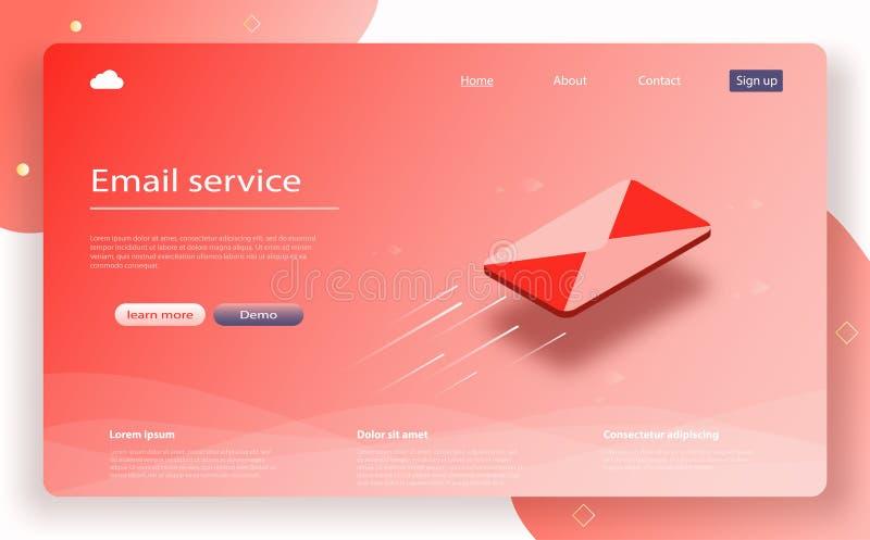 E-maildienst isometrische vector Berichtpictogram, e-mail die concept online reclame verzenden E-mail marketing vector illustratie