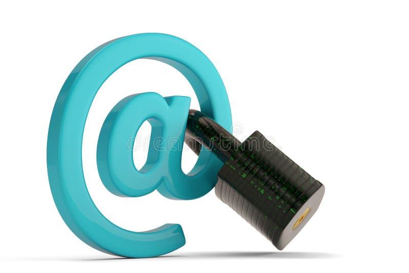 E-maildiesymbool met slot op witte achtergrond wordt geïsoleerd 3D illustra stock illustratie