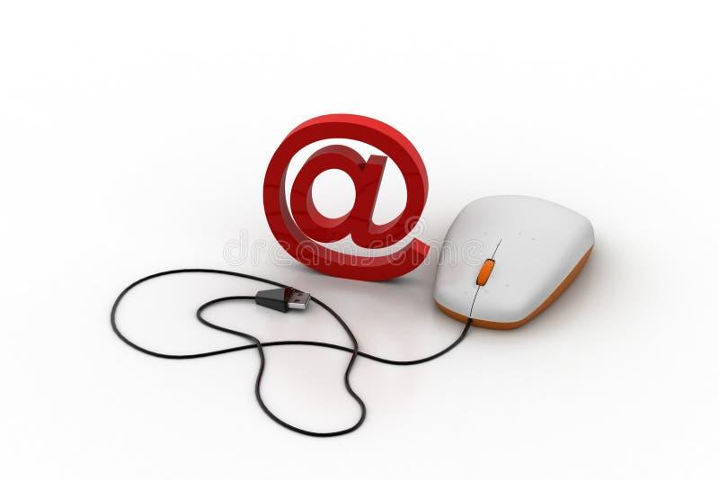 E-maildieteken aan computermuis wordt verbonden stock illustratie