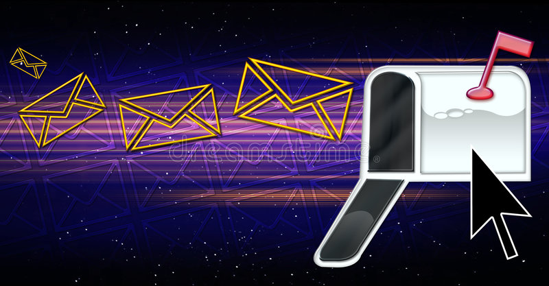 e - maile cyberprzestrzeni, ilustracja wektor