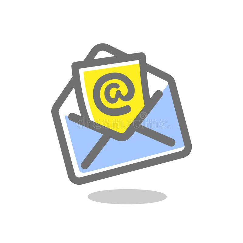 E-mailenveloppictogram Heldere, gekleurde vectorillustratie vector illustratie