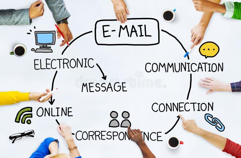 E-mailgegevens Tevreden Communicatie van Internet Overseinenconcept stock fotografie
