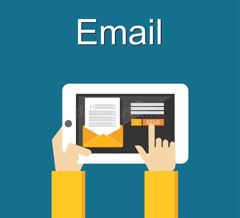 E-mailillustratie Het verzenden van e-mailconceptenillustratie Vlak Ontwerp stock illustratie