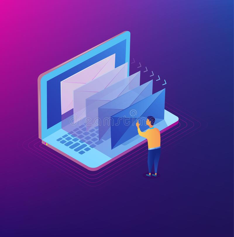 E-mailing notification isometric concept. Isometric modern mail. Email marketing on the laptop screen. Vector illustration eps10 stock illustration
