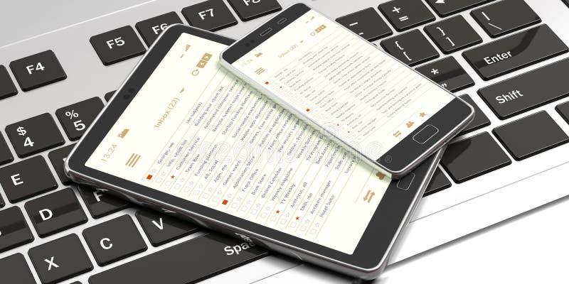 E-maillijsten op smartphone en tablet de schermen, de achtergrond van het computertoetsenbord, banner 3D Illustratie royalty-vrije illustratie