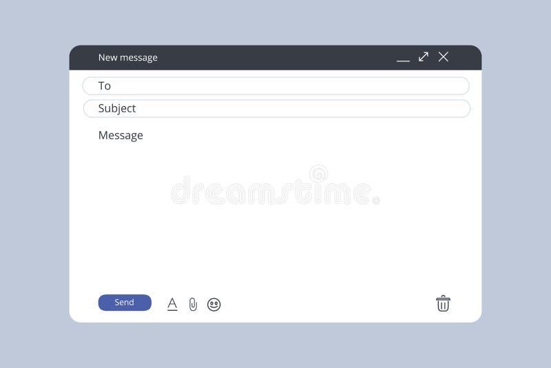 E-mailmalplaatje Leeg e-mailbrowservenster De webpagina vectorkader van het postbericht Vector voorraadillustratie Nieuwe brief vector illustratie