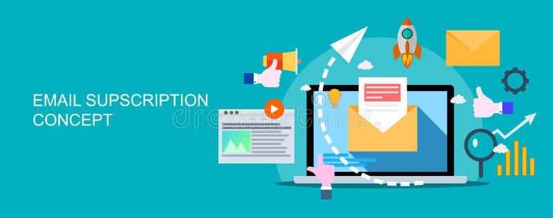 E-mailmarketingcampagne, bulletin marketing, druppel marketing royalty-vrije illustratie