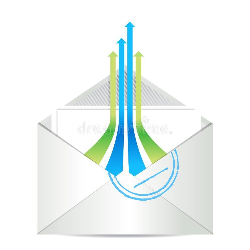 E-mailowa ikona. Kopertowa poczta z lider strzała ilustracja wektor