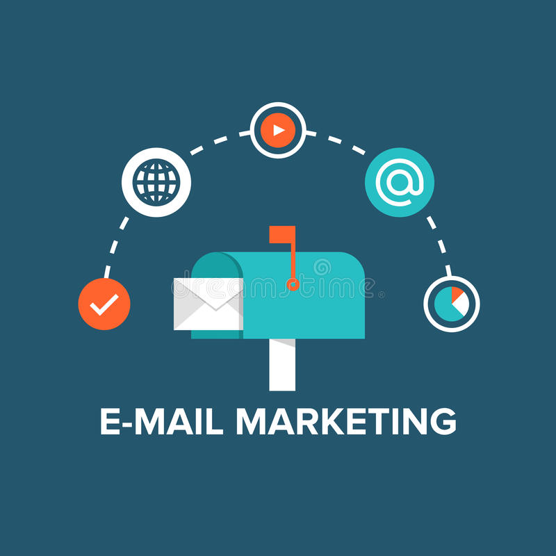 E-mailowa marketingowa płaska ilustracja royalty ilustracja