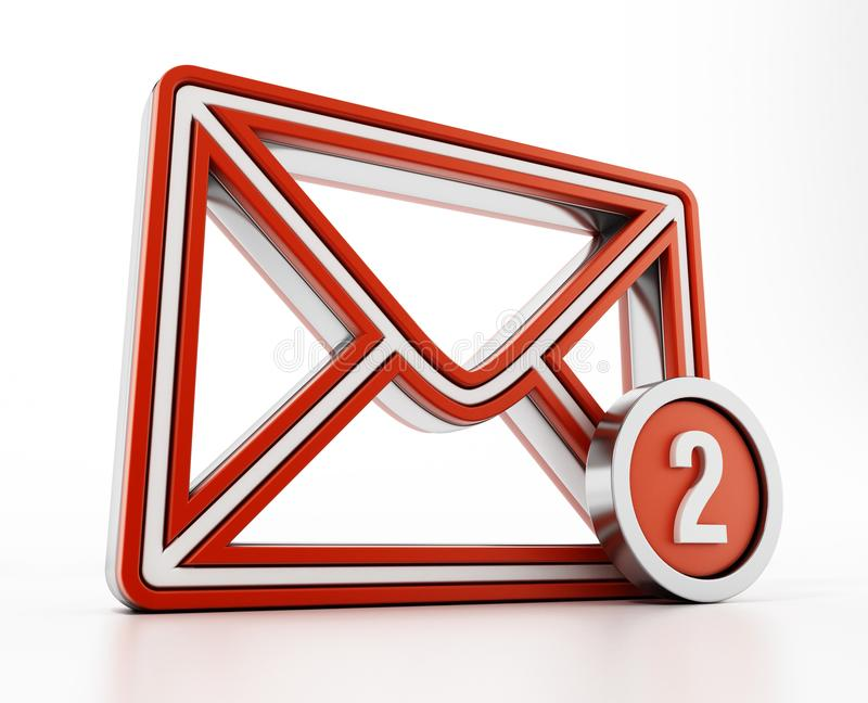 E-mailowy ikona z poczty liczbą na stronie ilustracja 3 d ilustracji