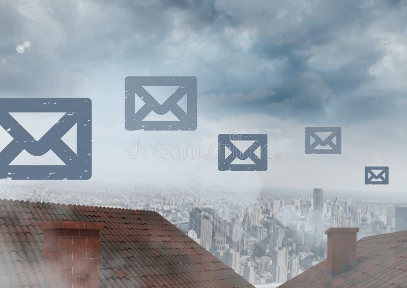 E-mailpictogrammen die over daken en stad drijven stock afbeelding
