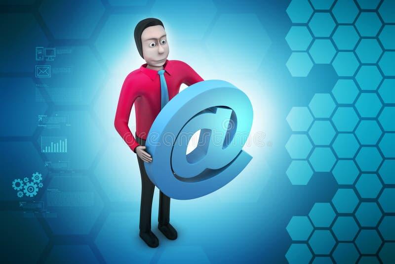 E-mailteken met de mens vector illustratie