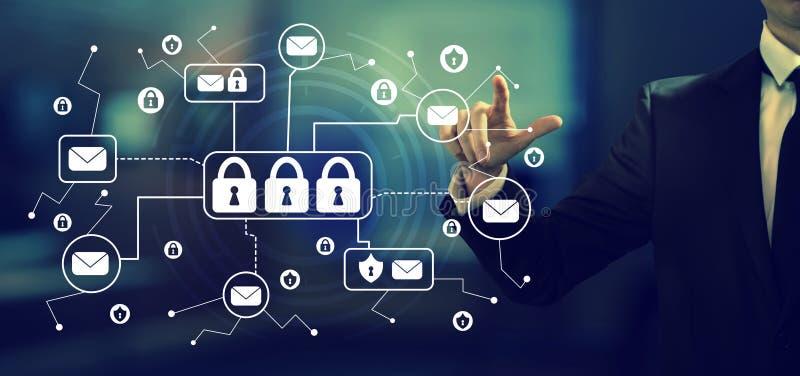 E-mailveiligheidsthema met een zakenman vector illustratie