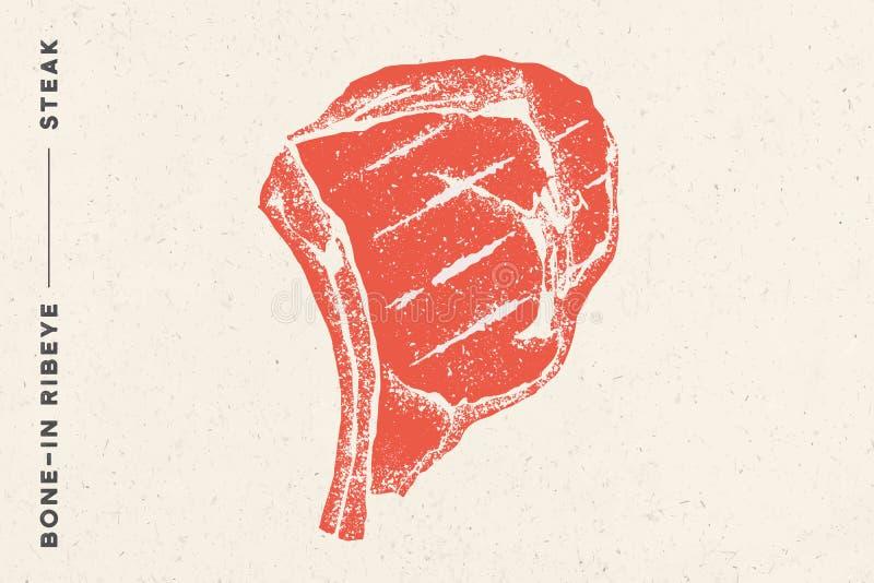 E Manifesto con la siluetta della bistecca royalty illustrazione gratis