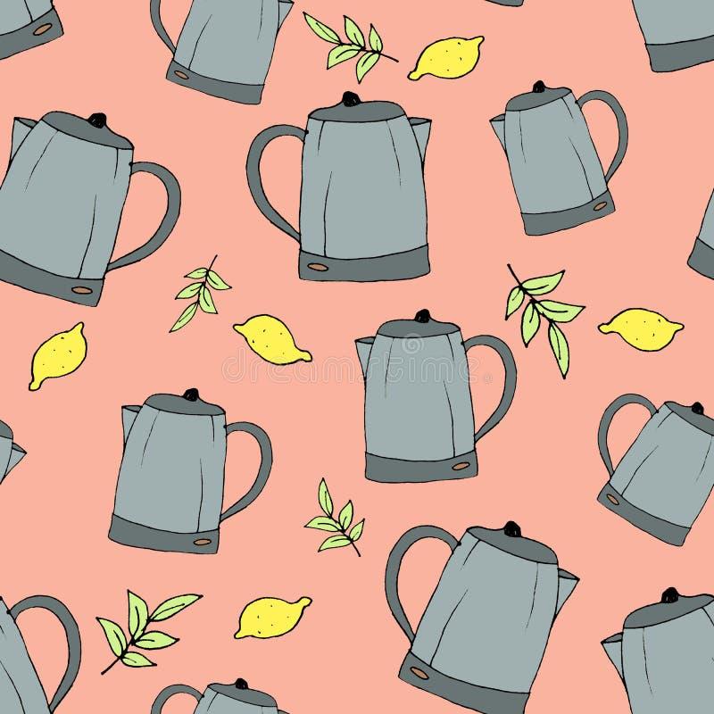 E A mano trazador de líneas dibujado artículos de cocina Una impresión para las diversas superficies Fondo rosado Una tetera, ilustración del vector