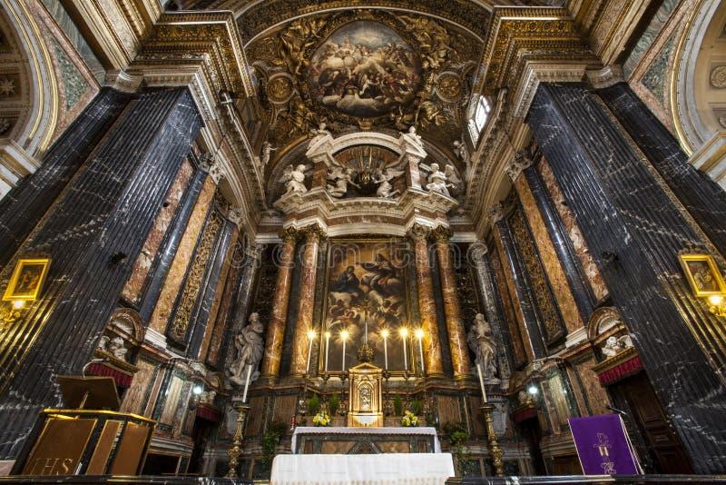 ¹ e Maria Church, Gesù e Maria di Gesà altar Belle vecchie finestre a Roma (Italia) immagine stock libera da diritti