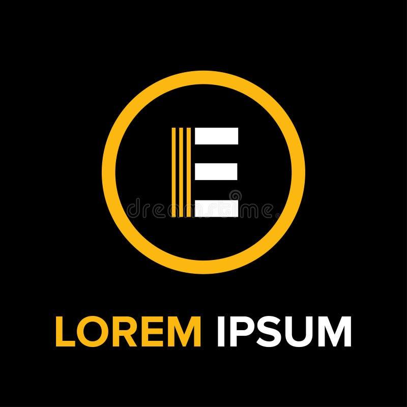 E marque avec des lettres le logo pour des affaires photographie stock