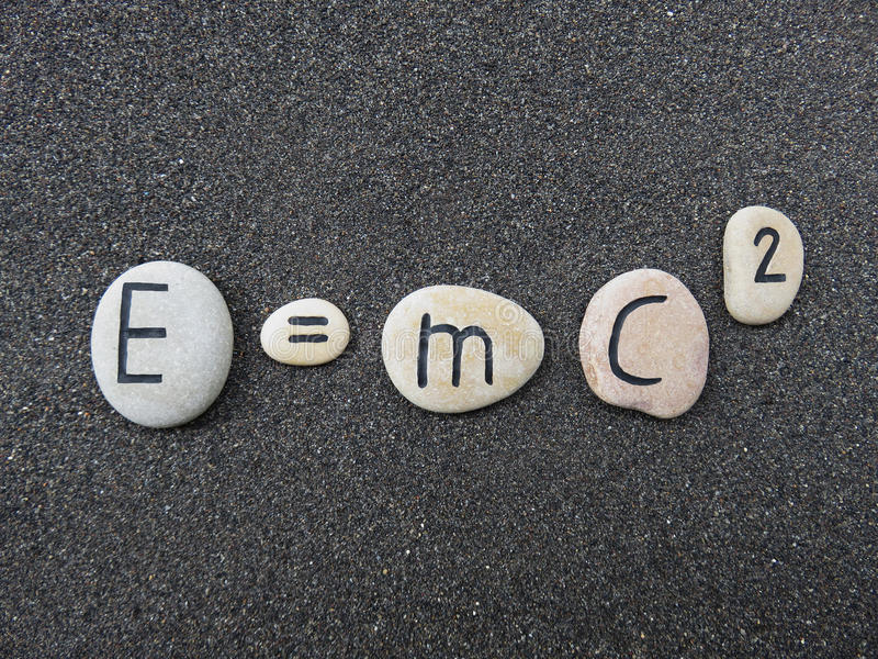 Download E=mc2 Theory Of Relativity On Carved Stones Over Lava Sand Stock Photo - Image of relativity, albert: 78212228