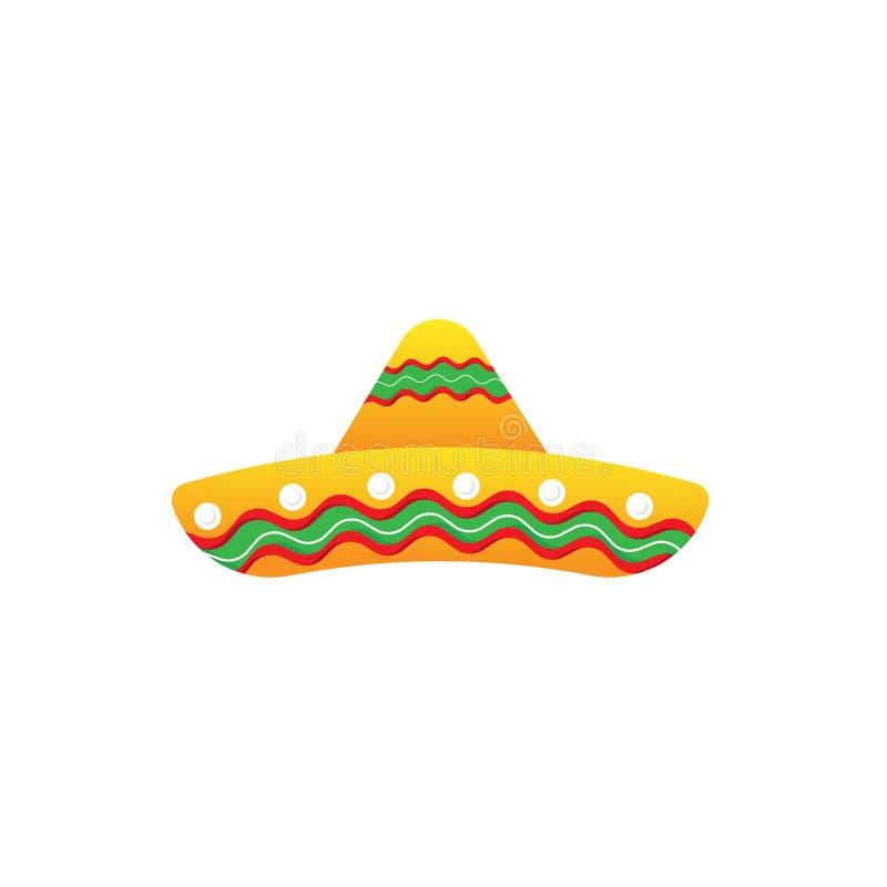 E Mexicansk Sombrerohatt Samling av ele för illustration för Cinco de Mayo designvektor royaltyfri illustrationer