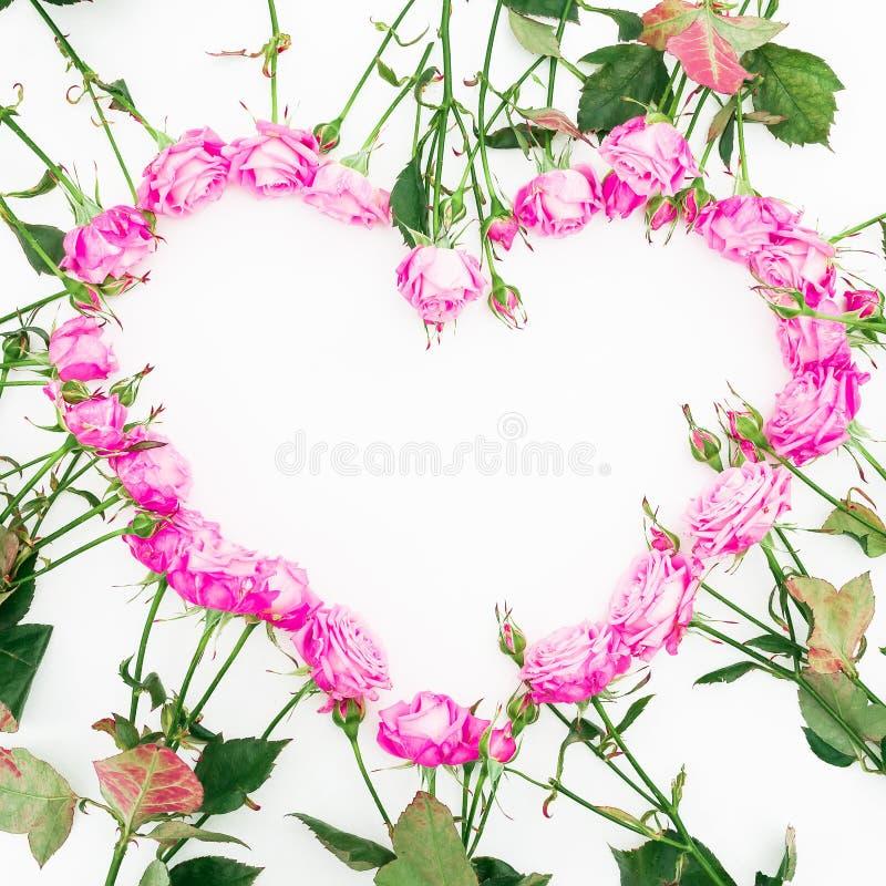 E Mieszkanie nieatutowy, odgórny widok tła valentine s Wzór robić kwiaty obraz royalty free