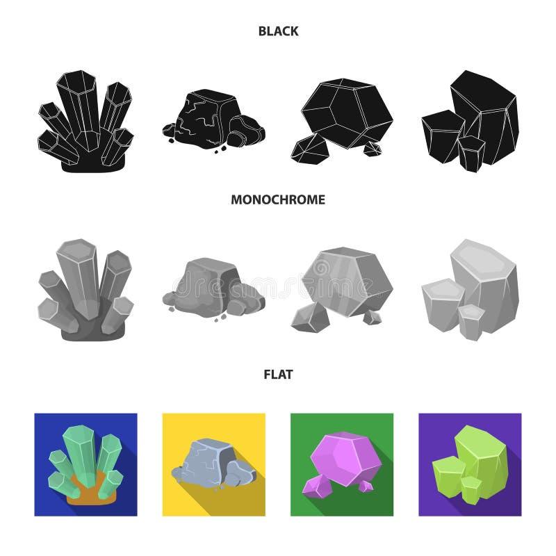 E Minerais preciosos e ícones ajustados de uma coleção do joalheiro no símbolo preto, liso, monocromático do vetor do estilo ilustração royalty free