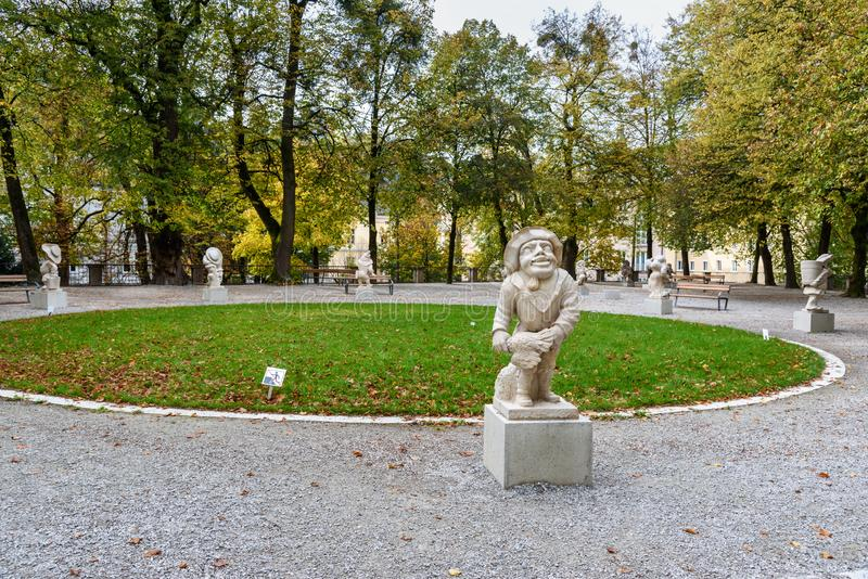 E Mirabellgarten lub Mirabell ogr?d jeste?my ogr?dem Mirabell pa?ac w Salzburg Austria obraz royalty free