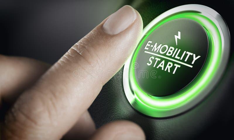 E-mobilidade, tecla 'Iniciar Cópias' verde do carro imagem de stock