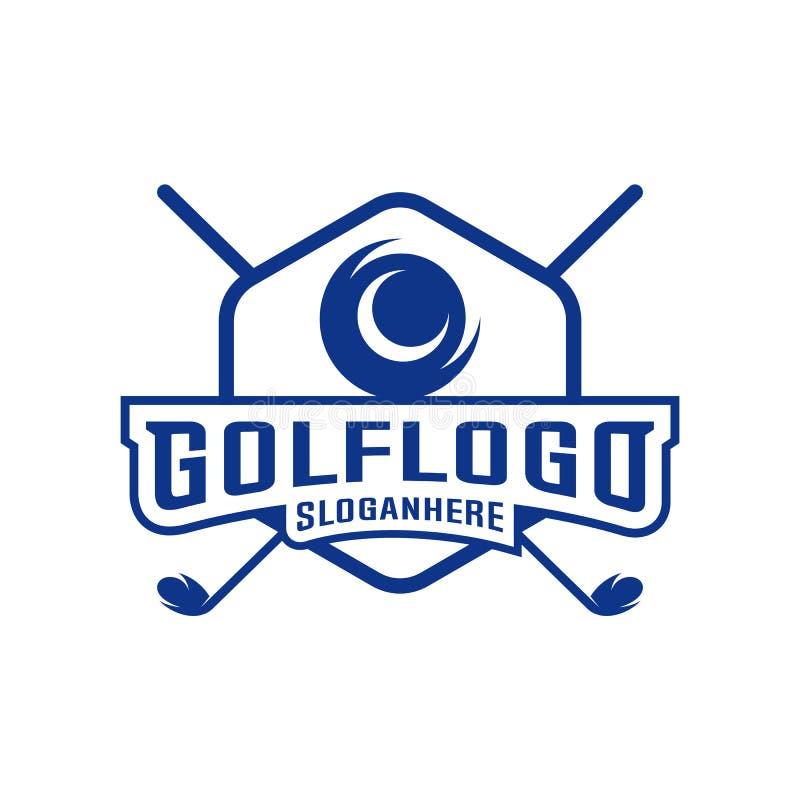 E Molde do projeto do logotipo do clube de golfe r ilustração do vetor