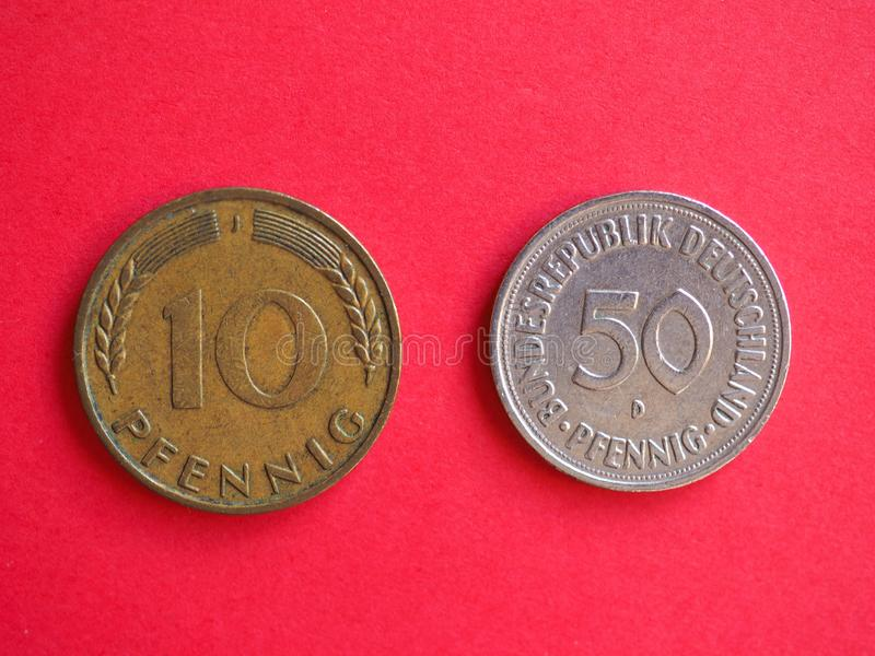 10 e 50 monete pfenning immagini stock libere da diritti