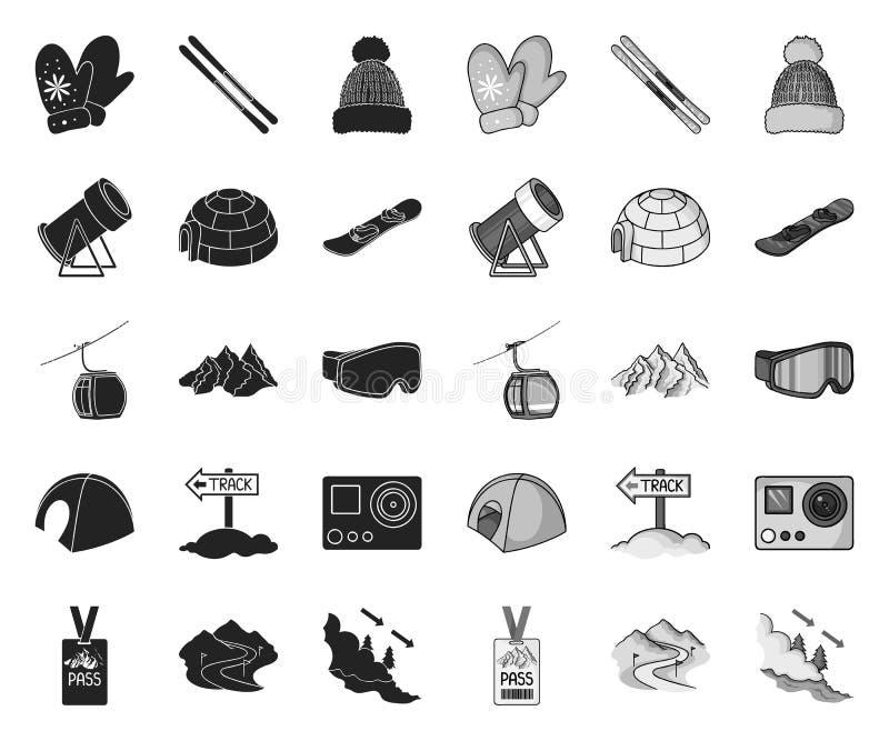 E mono icone nella raccolta stabilita per progettazione Azione di simbolo di vettore di ricreazione e di spettacolo illustrazione vettoriale
