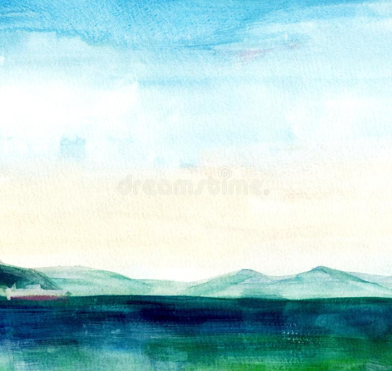 E Mooie waterverfhand het schilderen illustratie stock illustratie