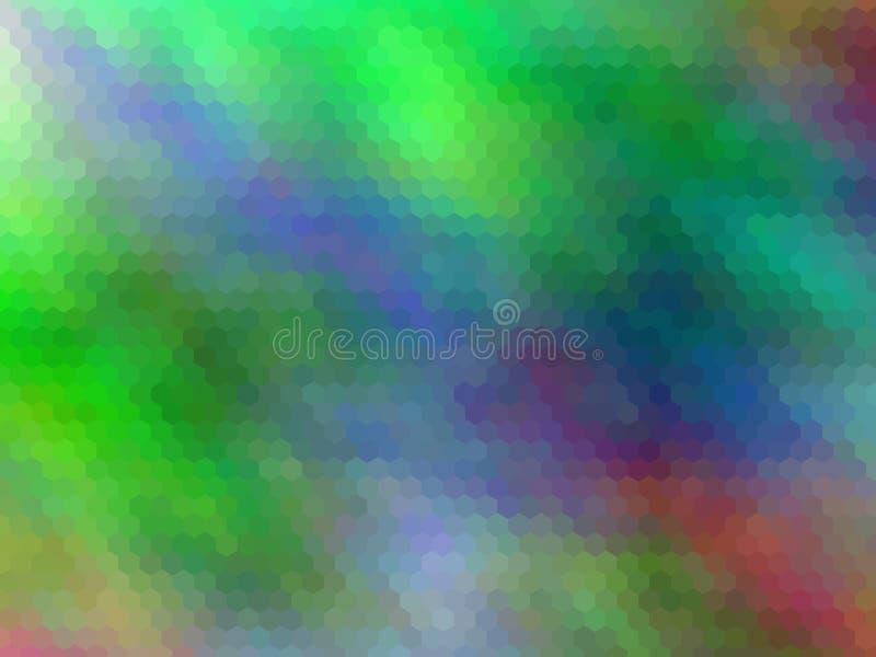 E Multicolor шестиугольно pixeled абстрактная предпосылка иллюстрация вектора