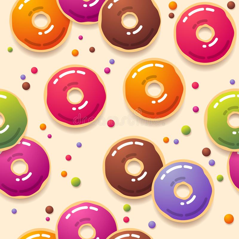 E Multicolor donuts и небольшая круглая конфета на светлой предпосылке иллюстрация вектора