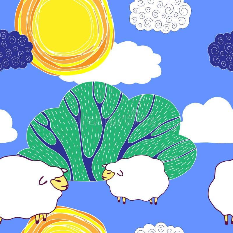 E Naadloos patroon Vector beeld De dieren van het landbouwbedrijf stock illustratie