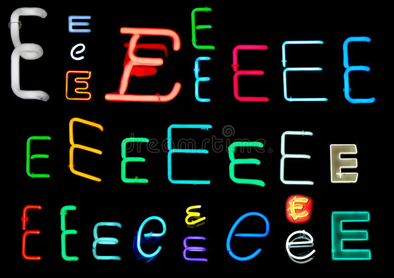 E Neon Letters royalty free illustration