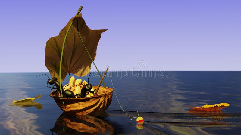 E Noix sur la mer illustration 3D illustration libre de droits