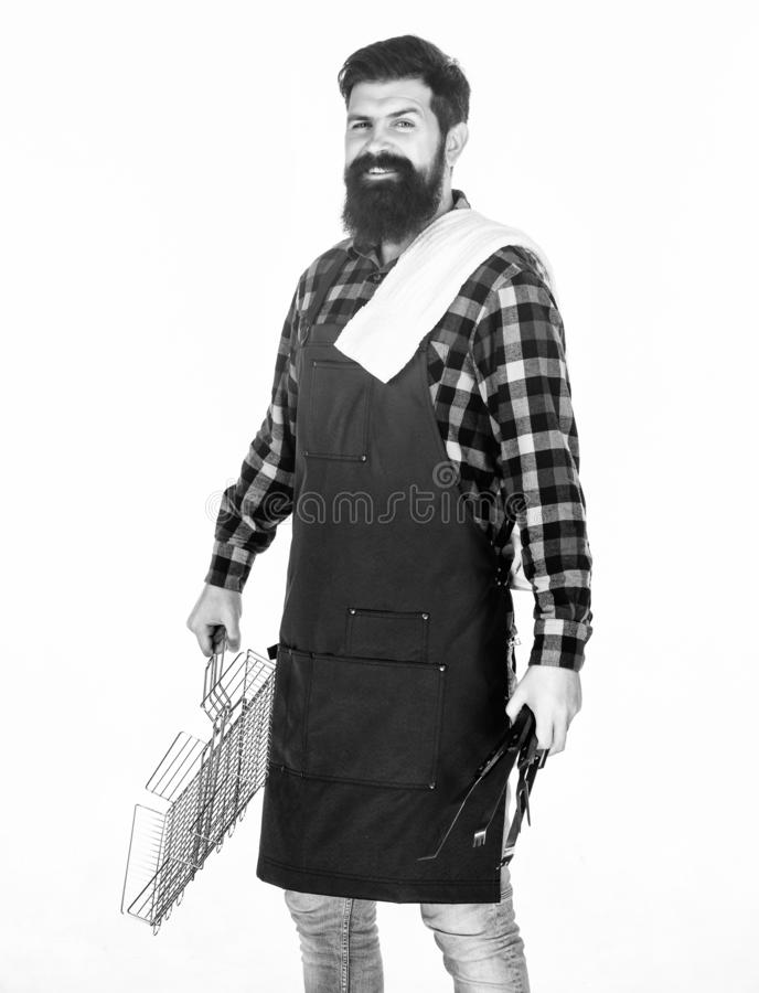 E o Άκρες για το μαγείρεμα του κρέατος Εποχή σχαρών Γενειοφόρος ένδυση hipster στοκ εικόνες