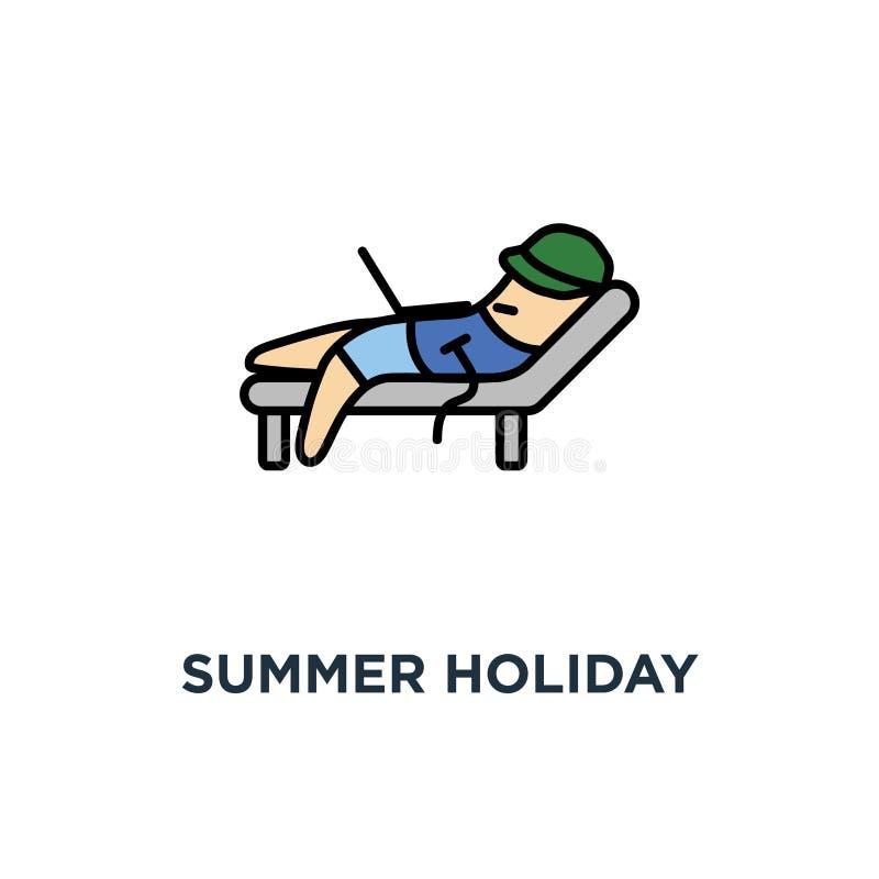 E o caráter engraçado dos desenhos animados bonitos com com projeto do símbolo do conceito do portátil, férias, viagem ao mar, fe ilustração stock