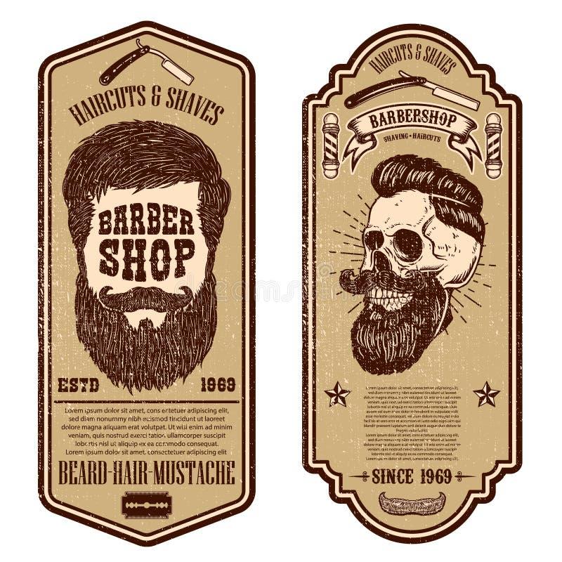 E O crânio e as ferramentas do barbeiro no fundo do grunge r ilustração royalty free