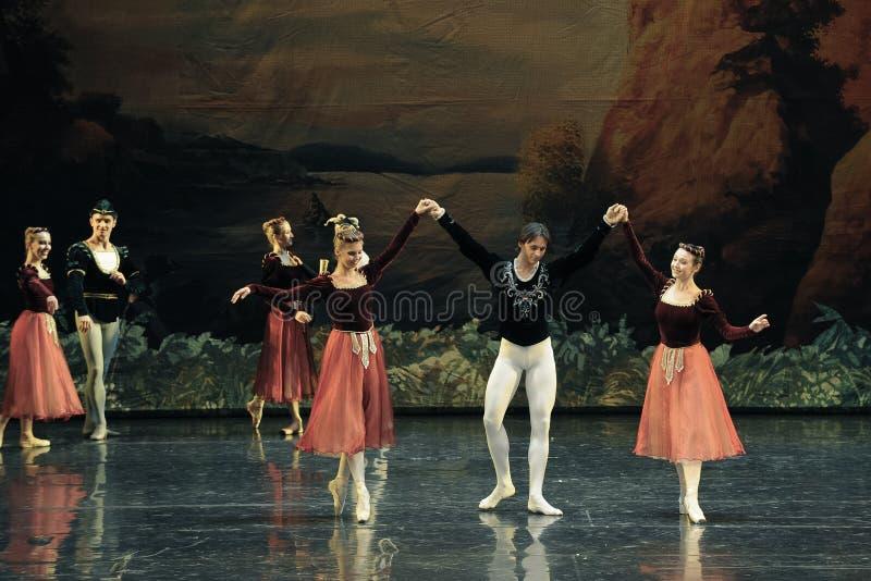 E o príncipe dançou o junto-bailado O Lago das Cisnes fotos de stock