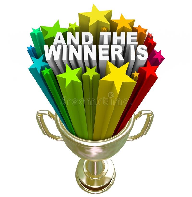 E o vencedor é concessão do troféu do ouro ilustração do vetor