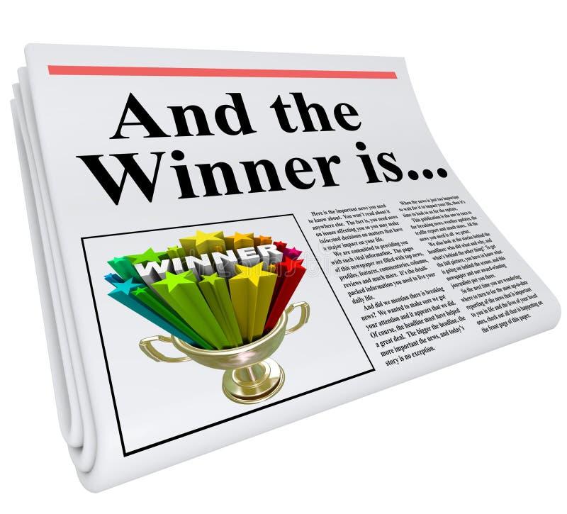 E o vencedor é troféu do anúncio do título de jornal ilustração royalty free